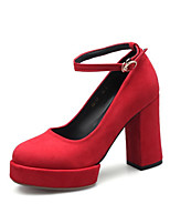 cheap -Women's Heels Pumps Round Toe Sweet Daily Buckle Solid Colored PU Walking Shoes Black / Red / Burgundy