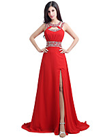 cheap -A-Line Elegant Minimalist Party Wear Formal Evening Dress Jewel Neck Sleeveless Sweep / Brush Train Chiffon with Sequin Split 2020