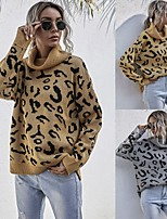 cheap -Women's Basic Knitted Leopard Cheetah Print Pullover Acrylic Fibers Long Sleeve Loose Sweater Cardigans Turtleneck Fall Winter Khaki Gray