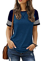 cheap -blue shirts for women short sleeve casual solid color striped tops