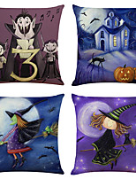 cheap -Halloween Party Halloween Decor Horror Ghost 1 Set of 4 pcs Halloween Series Decorative Linen Throw Pillow Cover for Halloween Gift Home Decoration,18 x 18 inches 45 x 45 cm