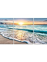cheap -3 panels blue beach sunrise white wave pictures painting on canvas wall art modern stretched seascape canvas prints seaview landscape artwork for home office decorations