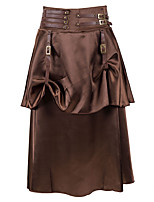 cheap -Pirate Victorian Steampunk Skirt Women's Flounced Asymmetric Hem Spandex Costume Dark Brown Vintage Cosplay Halloween Masquerade Festival Asymmetrical / Skirts