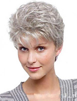 cheap -Synthetic Wig kinky Straight Asymmetrical Wig Short Silver grey Synthetic Hair 14 inch Women's Fashionable Design Exquisite Fluffy Silver