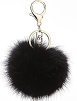 cheap -pom pom keychain genuine rabbit fur ball keychain fluffy accessories car bag charm