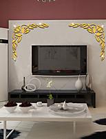 cheap -3D Diagonal Flower Acrylic Mirror Corner Sticker Home TV Door & Window Background Wall Decorative Sticker