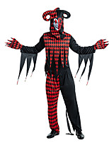 cheap -Clown Cosplay Costume Party Costume Adults' Men's Cosplay Halloween Halloween Festival / Holiday Polyester Red Men's Women's Easy Carnival Costumes / Top / Pants / Gloves / Mask / Top