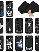 cheap -Case For Apple iPhone 11 iPhone 11 Pro iPhone 11 Pro Max Shockproof Frosted Pattern Back Cover sky Animal Feathers High Guality Black Bbackground TPU for iPhone SE (2020) 8 8 Plus X XS XR Xs Max
