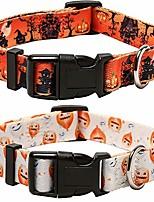 cheap -2 pack halloween dog collar adjustable pumpkin pattern