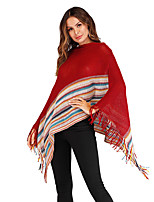 cheap -Women's Basic Knitted Striped Cloak / Capes Long Sleeve Sweater Cardigans Crew Neck Round Neck Fall Winter Black Red Beige