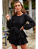 cheap -Women's A-Line Dress Short Mini Dress - Long Sleeve Solid Color Ruffle Ruched Fall Casual Lantern Sleeve 2020 White Black Gray S M L XL