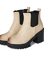 cheap -Women's Boots Cuban Heel Round Toe Casual Basic Daily Solid Colored PU Booties / Ankle Boots Walking Shoes Beige / Gray