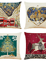 cheap -Set of 4 Colorful Christmas Linen Square Decorative Throw Pillow Cases Sofa Cushion Covers 18x18