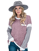 cheap -Women's T-shirt Color Block Long Sleeve Patchwork Round Neck Tops Basic Basic Top Blushing Pink Brown Gray