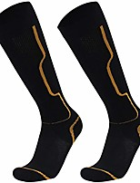 cheap -winter hiking socks knee high, cushioned comfortable lightweight ventilation knit cold weather stretch sleeve snow/snowboard high performance socks,1 pair black yellow stripe,medium