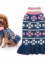 cheap -valentine dog sweater dress turtleneck winter clothes - warm girl dogs coat beautiful love heart pattern knit ugly sweater with leash hole for dogs puppy cat small
