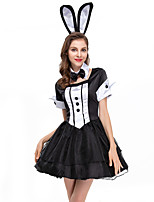 cheap -Bunny Girl Dress Cosplay Costume Party Costume Adults' Women's Cosplay Vacation Dress Halloween Halloween Festival / Holiday Polyester Black Women's Easy Carnival Costumes / Collar / Headwear