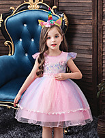 cheap -Princess Unicorn Flapper Dress Outfits Masquerade Girls' Movie Cosplay A-Line Slip Cosplay Vacation Dress White / Purple / Blue Dress Headwear Halloween Children's Day Masquerade Polyester Organza