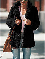 cheap -Women's Fall & Winter Coat Regular Solid Colored Daily Basic Black Light gray Beige S M L XL
