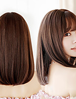 cheap -Synthetic Wig Curly With Bangs Wig Long Dark Brown Synthetic Hair Women's Adorable Comfortable Exquisite Brown