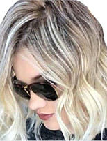 cheap -Synthetic Wig Curly Middle Part Wig Short Blonde Synthetic Hair Women's Ombre Hair Middle Part Romantic Blonde