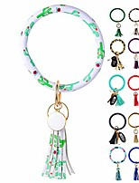 cheap -wristlet keychain bracelet, leather tassel key ring keychain bangle circle keyring bracelets for women and girls