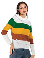 cheap -Women's Basic Knitted Striped Color Block Pullover Long Sleeve Sweater Cardigans Turtleneck Fall Winter Yellow