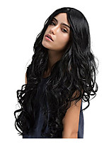 cheap -Synthetic Wig Curly Bouncy Curl Middle Part Wig Very Long Natural Black Synthetic Hair 30 inch Women's Fashionable Design Middle Part Fluffy Black