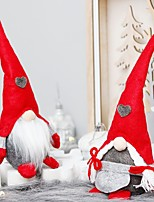 cheap -2 Pcs Christmas Decorations Home Decor Doll, Christmas Ornaments Plush Long Hat Forest Man Figurine Creative Xmas Santa Claus Faceless Doll Gifts