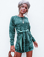 cheap -Women's Sheath Dress Short Mini Dress - Long Sleeve Solid Color Bow Spring Fall Casual Loose 2020 Green M L XL