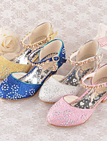 cheap -Princess Shoes Masquerade Girls' Movie Cosplay Sequins Golden / Blue / Pink Shoes Children's Day Masquerade