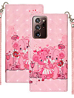 cheap -Case For Samsung Scene Map Samsung Galaxy S20 S20 Plus S20 Ultra Note 20 Note 20 Plus 3D cartoon flower and animal pattern glossy PU leather card holder all-inclusive mobile phone case YH