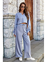 cheap -Women's Basic Solid Color Two Piece Set V Neck Blouse Shirt Pant Drawstring Tops / Loose