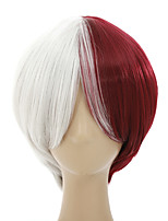 cheap -Synthetic Wig My Hero Academia / Boku No Hero kinky Straight Asymmetrical With Bangs Wig Short Burgundy Synthetic Hair Men's Anime Cosplay Creative Burgundy
