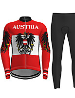 cheap -21Grams Men's Long Sleeve Cycling Jersey with Tights Red Bike Breathable Quick Dry Moisture Wicking Sports Letter & Number Mountain Bike MTB Road Bike Cycling Clothing Apparel / Micro-elastic