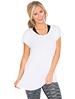cheap -Women's T-shirt Solid Colored Cut Out Patchwork Round Neck Tops Basic Basic Top White Black