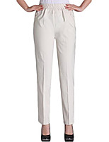 cheap -womens summer elastic waist comfy stretch pull on pants,  color beige  x large