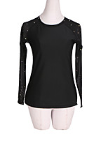 cheap -Figure Skating Fleece Jacket All Ice Skating Jacket Black Spandex Stretch Yarn High Elasticity Training Skating Wear Handmade Solid Colored Crystal / Rhinestone Long Sleeve Ice Skating Winter Sports