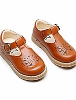cheap -Girls' Flats Princess Shoes PU Little Kids(4-7ys) Walking Shoes Black / Burgundy / Brown Spring / Fall