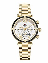 cheap -chronograph sports women quartz wrist watch with calendar,waterproof,stainless,fashion design for female (gold)