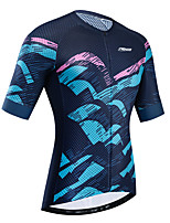 cheap -21Grams Women's Short Sleeve Cycling Jersey Summer Black / Blue Bike Jersey Top Mountain Bike MTB Road Bike Cycling UV Resistant Breathable Quick Dry Sports Clothing Apparel / Stretchy / Race Fit