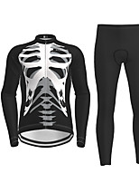 cheap -Men's Long Sleeve Cycling Jersey with Tights Black Novelty Skull Bike Breathable Quick Dry Moisture Wicking Sports Novelty Mountain Bike MTB Road Bike Cycling Clothing Apparel / Micro-elastic