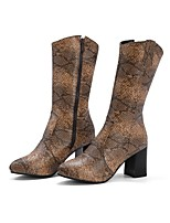 cheap -Women's Boots Block Heel Pointed Toe Basic Party & Evening Outdoor Snake PU Mid-Calf Boots Walking Shoes White / Black / Yellow