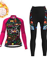 cheap -21Grams Women's Long Sleeve Cycling Jacket with Pants Winter Fleece Black / Yellow Black Fuchsia Bike Fleece Lining Breathable Warm Sports Graphic Mountain Bike MTB Road Bike Cycling Clothing Apparel