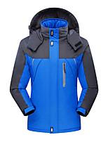 cheap -Men's Windbreaker Hiking Jacket Winter Outdoor Solid Color Thermal Warm Waterproof Windproof Fleece Lining Jacket Full Length Hidden Zipper Fishing Camping / Hiking / Caving Traveling Black / Red