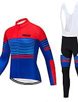cheap -21Grams Men's Long Sleeve Cycling Jacket Cycling Bib Tights Blue Gradient Novelty Bike Breathable Sports Gradient Mountain Bike MTB Road Bike Cycling Clothing Apparel / Stretchy