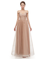 cheap -A-Line Elegant Sexy Prom Formal Evening Dress Off Shoulder Short Sleeve Floor Length Tulle with Beading Appliques 2020
