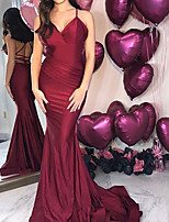 cheap -Mermaid / Trumpet Minimalist Sexy Wedding Guest Formal Evening Dress V Neck Sleeveless Sweep / Brush Train Floor Length Stretch Satin with Ruched 2020