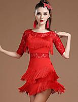 cheap -Latin Dance Dress Lace Tassel Tiered Women's Training Performance Half Sleeve Natural Lace Milk Fiber