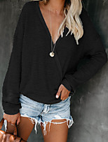 cheap -Women's Blouse Shirt Solid Colored Long Sleeve Button V Neck Tops Loose Basic Basic Top Black Red